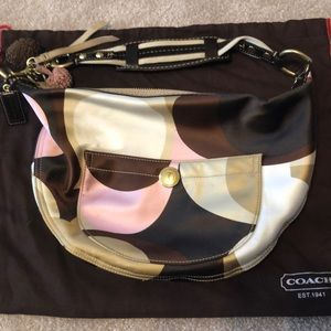 Coach pink and brown shoulder purse